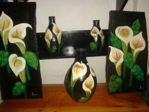 Comprar Juego de pinturas en madera y vasijas de barro