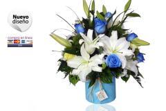 Balde de Lirios y rosas azules