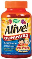 Multivitamínico Alive Kids, Cerezo / Uva / Naranja