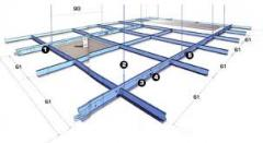 Sections and small ironware for suspended ceilings